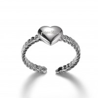 PrimeSilver Sterling Silver Heart Ring for Women, Valentine's Day Collection Romance 925 Sterling Silver Heart Engagement Ring for Women Girls